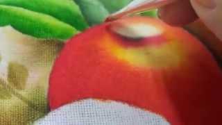 Pintura em tecido maçã 1