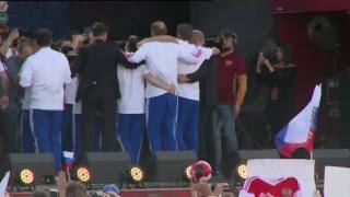 Прямая трансляция встречи сборной России с болельщиками в фан-зоне на Воробьевых горах