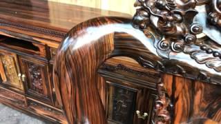 Bộ bàn ghế phòng ăn Gỗ Mun Hoa 10 ghế 1 bàn tròn và bộ minh nghê c12.bác THUẬN kiến An Hải Phòng:9-