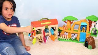 Learn ZOO Wild Animals & Colors with Lion Guard Toy & Pet Animal Hospital