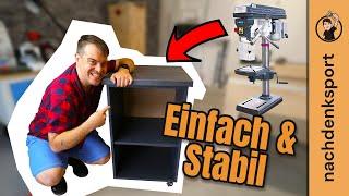 Mobiler Unterbau für die Standbohrmaschine. Teil 1. Holzwerkstatt einrichten.