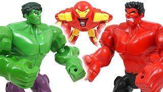 Red Hulk vs Hulk and Hulkbuster! Save surprise egg from dinosaurs and villains - DuDuPopTOY