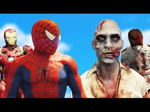 SPIDERMAN + IRON MAN vs ZOMBIE HORDE (GTA 5 Mods Funny Moments