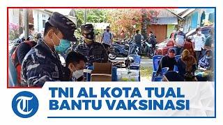TNI AL Lanal Tual Bantu Pelaksanaan Vaksinasi Covid-19 di Pelosok Desa Kota Tual Wilayah Maluku