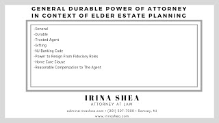 What to include in a General Durable Power of Attorney in the context of Elder Estate Planning