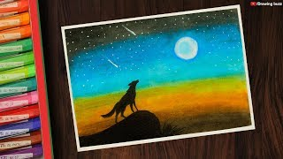 How To Draw Scenery Of Moonlight Wolf ฟร ว ด โอออนไลน ด ท ว