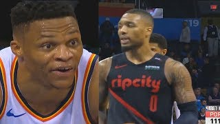 Russell Westbrook Trash Talks Damian Lillard After Destroying The Entire Blazers With Paul George!