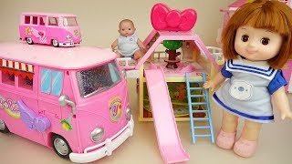 Baby doll camping bus and house play baby Doli story