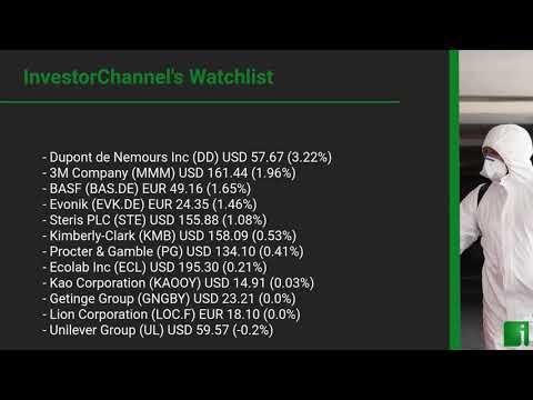 InvestorChannel's Disinfection Watchlist Update for Monday, August 10, 2020, 16:30 EST