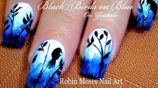 Bird Nails | DIY Birds On Blue Nail Art Design Tutorial