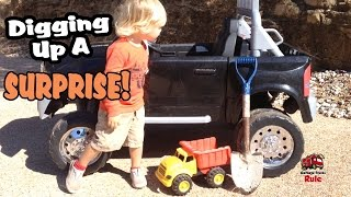 Digging Up A Surprise - Matchbox Unboxing - KidTrax Ride On