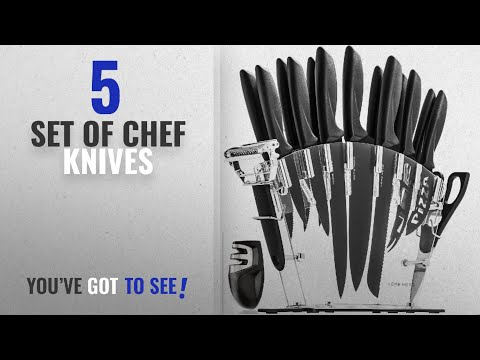 Top 10 Set Of Chef Knives [2018]: Stainless Steel Knife Set with Block - 13 Kitchen Knives Set Chef