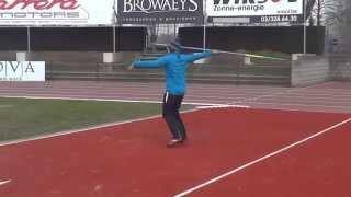 Timothy Herman Javelin throw training video 28 maart 2013