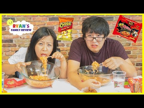 Extreme Spicy Noodle Challenge 2x! Loser drinks Hot Sauce with Ryan's Family Review!