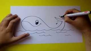 Смотреть онлайн Как ребенку поэтапно карандашом нарисовать кита