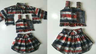 Old Mens Shirt Convert Into Baby Summer Cute Dress.