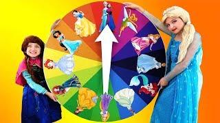 Magic Wheel Challenge - Kids turn into real Disney princesses and play