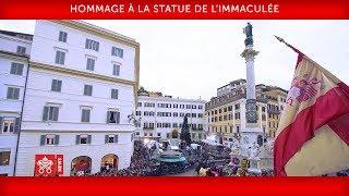 Pape François-Hommage à la statue de l'Immaculée 2019-12-08