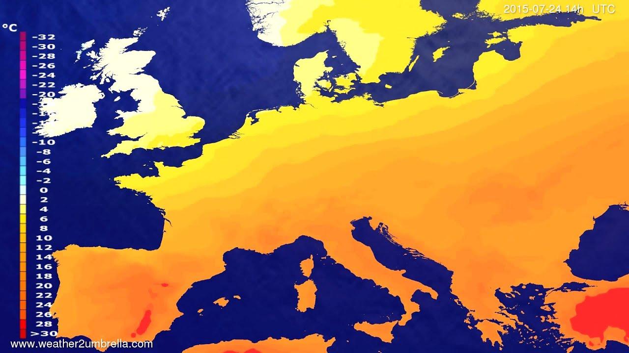 Temperature forecast Europe 2015-07-20