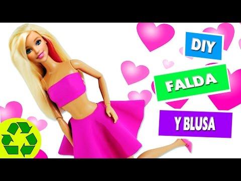DIY | Ropa para muñecas: Falda y blusa sin coser ni pegar en 1 minuto - manualidades para muñecas