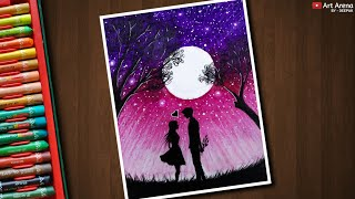 Romantic Anime Couple Drawing with Oil Pastels - step by step