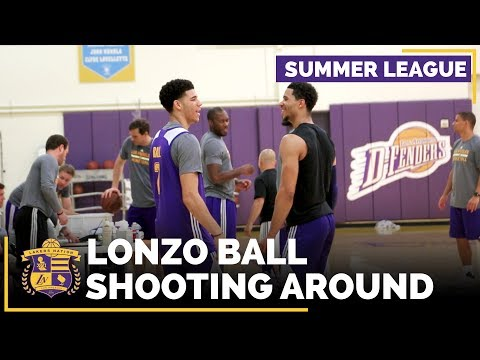 Lonzo Ball Shooting Around At Lakers Summer League Practice
