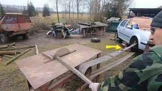 Trajzega z napędem samochodowym/ Jak nie ciąć drewna Cyrkulatką :)