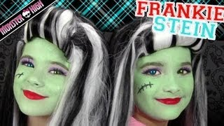 Frankie Stein Monster High Costume Makeup Tutorial for Halloween | Kittiesmama & Bratayley