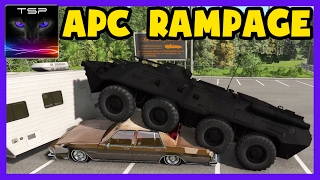 BeamNG drive - BTR-80 Stealth APC on RAMPAGE, Crushing Cars [10.Mar.2017]