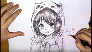 How To Draw A Manga Girl With Cat Hoodie (real-time)