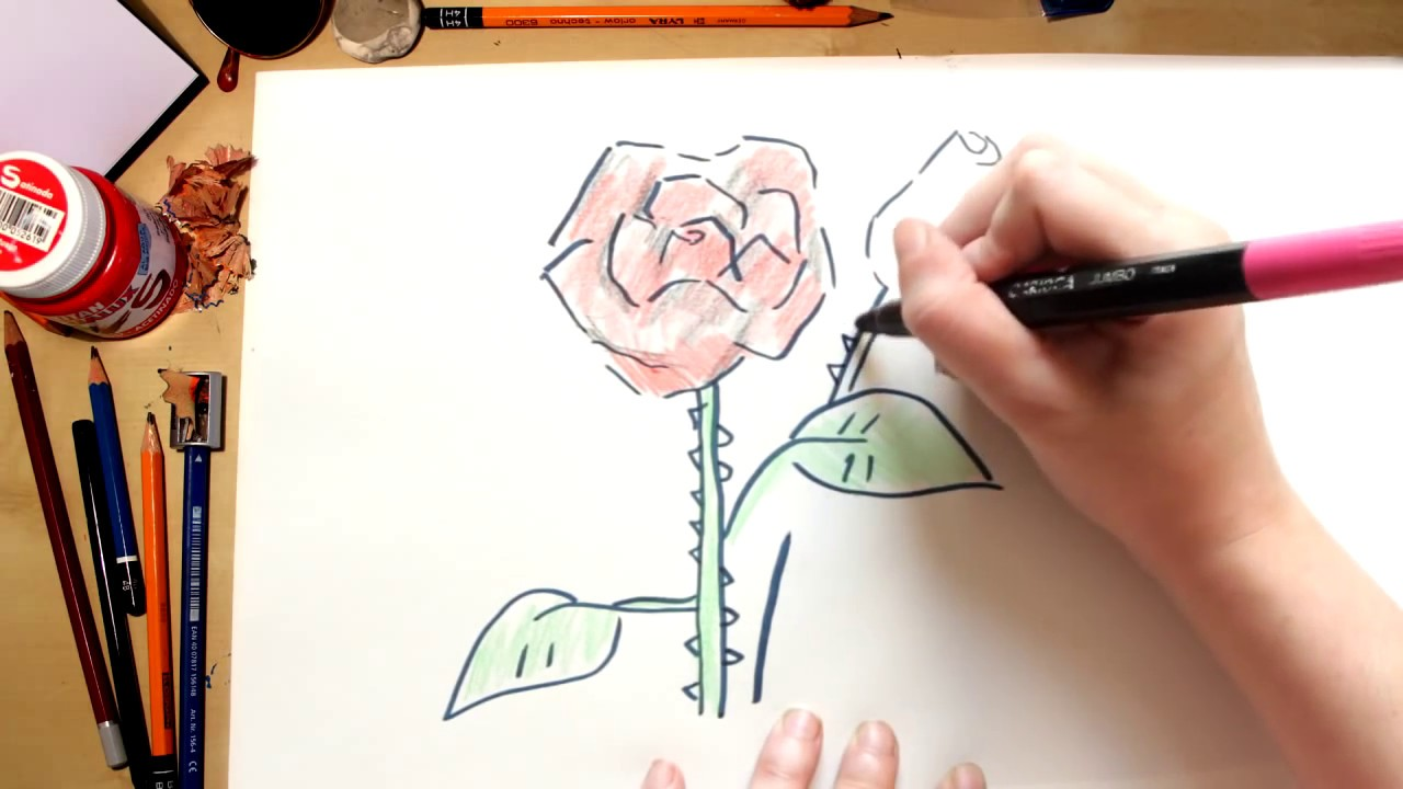 Como desenhar uma Rosa - desenhos para crianças