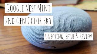Google Nest Mini - 2nd Generation - Sky - Unboxing - Setup - Review