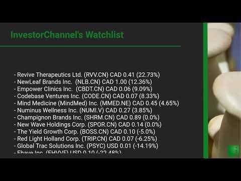 InvestorChannel's Psychedelics Watchlist Update for Wednesday, August 05, 2020, 16:30 EST