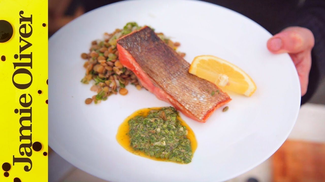Panfried Crispy Salmon with Salsa Verde