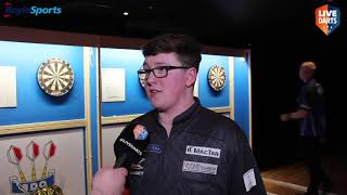 Keane Barry reacts to becoming 2020 BDO World Youth Champion