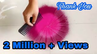 Easy daily rangoli using comb how to make rangoli design in 10 minutes by Creative Hands