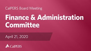 Finance & Administration Committee on April 21, 2020