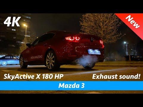 Mazda 3 Sedan SkyActiv X exhaust sound   Interior - Exterior with LED headlights in night 4K