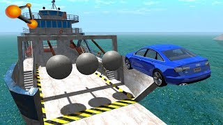 BeamNG.drive - Giant Concrete Balls Against Cars Crashes #2