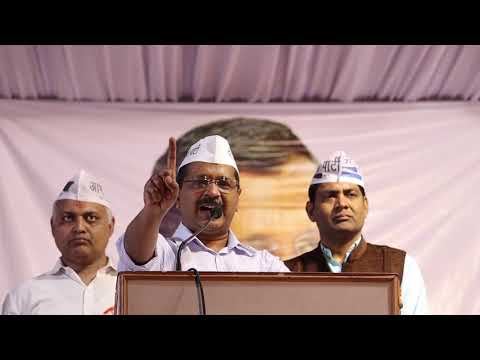 Delhi CM Arvind Kejriwal at public meeting for Lok Sabha Election in Malviya Nagar