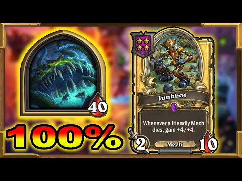 Hearthstone Battlegrounds: 100% Winrate With Yogg! 12 Wins In A Row | Triple Junkbot | The Best Run