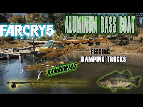 Far Cry 5 New Bass Boat + Trucks Ramped Over The Cliff
