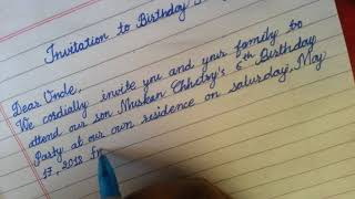 How to write Invitation letter for birthday Party/ how to write cursive writing