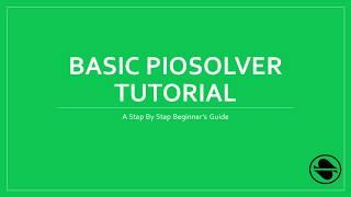 Piosolver Tutorial: The Ultra-Basics - Самые лучшие видео