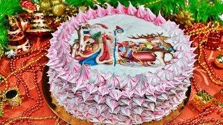 Крем МОКРОЕ БЕЗЕ (швейцарская меренга). Вафельная картинка на торт
