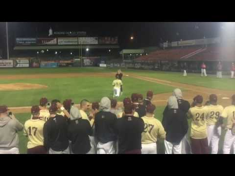 Kutztown baseball player Ben Eppley proposes after team's win