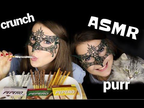 АСМР Корейская СЛАДКАЯ СОЛОМКА *БОНУС МУРЧАНИЕ КОТА*/ASMR MUKBANG PEPERO biscuit STICKS *CRUNCH*