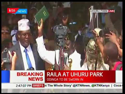 Interesting Video: Raila Odinga sworn in as 'people's' president of Kenya