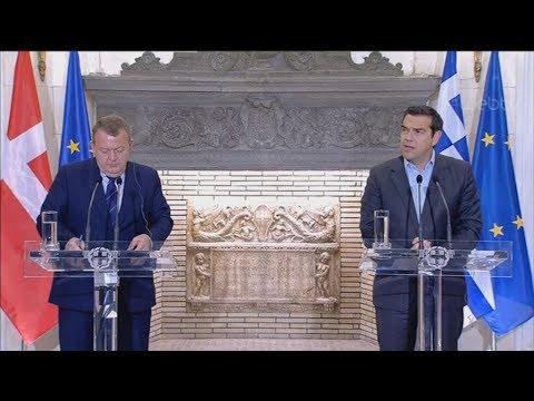 Κοινές δηλώσεις του Έλληνα πρωθυπουργού Αλέξη Τσίπρα και του Δανού ομόλογού του Λαρς Λόξε Ράσμουσεν