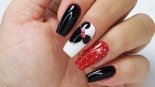 Minnie Mouse Nails Art Tutorial / Charbonne